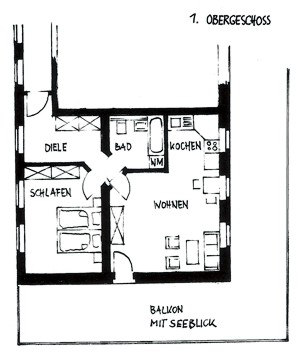 Querschnitt einer Wohnung im 1. Obergeschoss